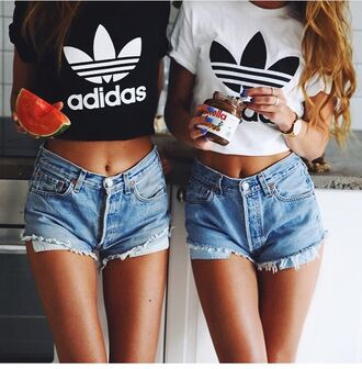 denim shorts ripped shorts cropped t-shirt adidas originals black top white top cropped shirt adidas cropped shirt white white t-shirt t-shirt black t-shirt crop tops black and white bff hip hop adidas top black black adidas crop top white adidas crop top adidas crop top crop short shorts nutella levi's levi's shorts