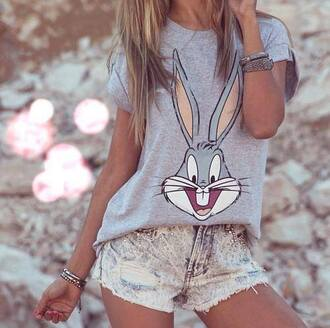 t-shirt easter shirt bunny grey t-shirt summer outfits