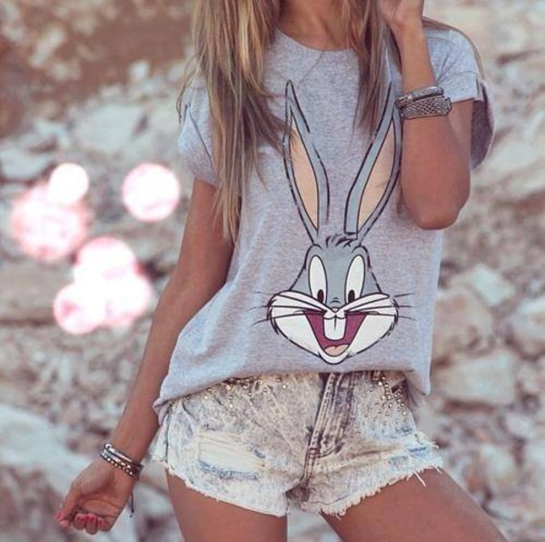 t-shirt easter shirt bunny t-shirt grey t-shirt summer outfits