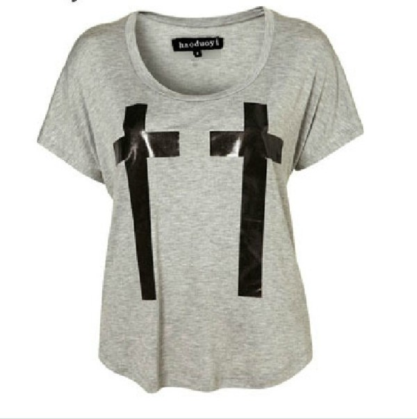 shirt grey cross black leather 2 crosses cute t-shirt
