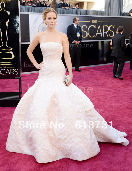 Wholesale   The 85th Annual Academy Awards Jennifer Lawrence White Ball Gown Strapless Oscar Celebrity Red Carpet Dresses-in Celebrity-Inspired Dresses from Apparel & Accessories on Aliexpress.com