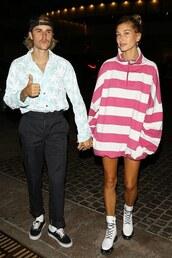 sweater,hailey baldwin,pants,menswear,justin bieber,stripes,white,pink