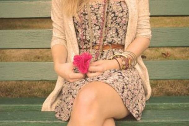 dress girl beautiful summer bench jacket bracelets bracelets necklace necklace floral dress