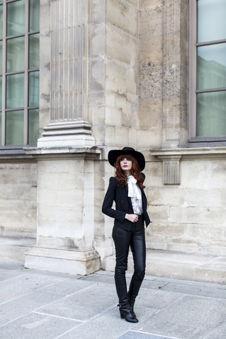 miss pandora blogger hat leather pants blouse black jacket pants shoes shirt jacket