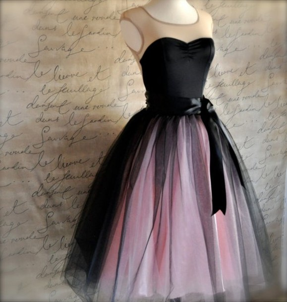dress tumblr lovely black black pink dress black and pink sheer skirt see through dress black dress cocktail dress cute dress vintage dress 40's beautiful dresses multicolor dress strapless dress pink dress tulle dress