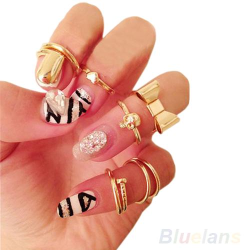 7x Golden Vintage Stack Skull Bow Heart Nail Band Mid Finger Top Ring Set BD2U | eBay