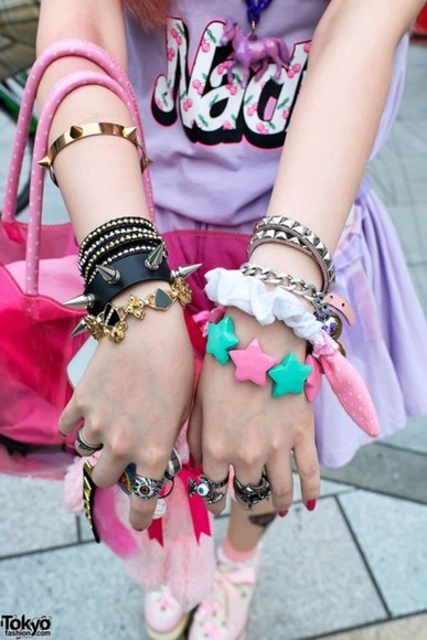 cute chains jewels bracelets jewelry spikes kawaii