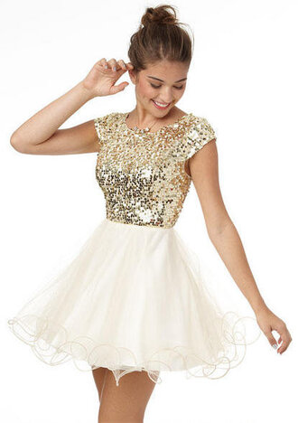 dress clothes prom dress gold gold sequins white dress sequins sequin dress blouse short sleeve sequin top mini white fab perrie edwards gold sequin cap sleeve  dress t gold dress short dress homecoming dress winterball fashion prom love cute girly formal dance elegant short tutu pretty gold short prom dresses gold and white 2015 glitter junior glitter dress cute dress where did u get that gold sequin at top white  bottom gold and white sequin gold homecoming dress white skirt