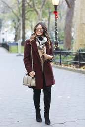 hauteofftherack,blogger,coat,jeans,shoes,sunglasses,sweater,scarf,shoulder bag,burgundy coat,winter outfits,boots,thigh high boots