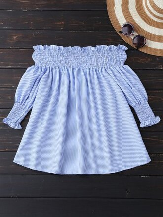 top blue girly cute fashion style summer spring off the shoulder zaful