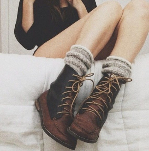 shoes boots laces laced black brown clothes underwear comabt boots black and brown