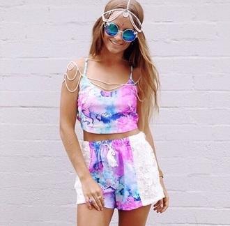jumpsuit pink white blue shorts light colors spets