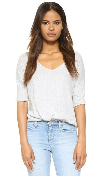oversized v neck light grey heather grey top