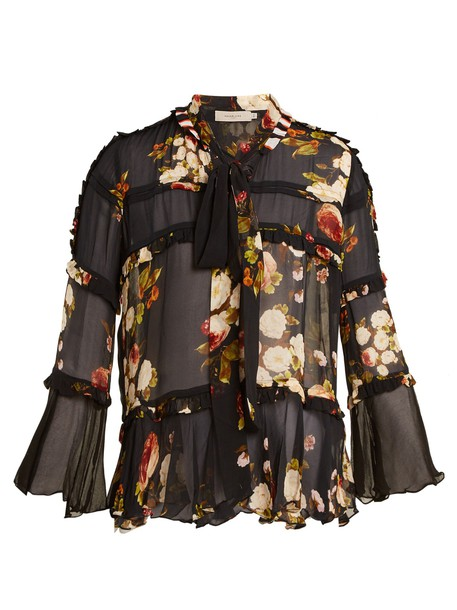 Preen Line blouse sheer blouse sheer ruffle print black top