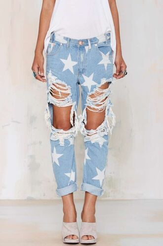 jeans blue jeans stars blue jeans with stars ripps ripped cropped