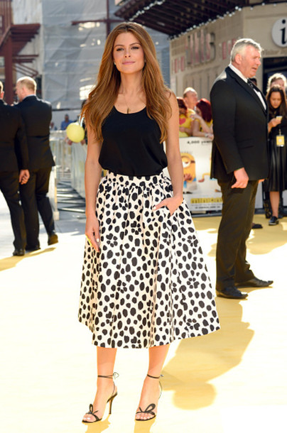 Skirt: top, midi skirt, black and white, maria menounos, sandals ...