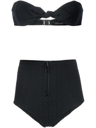 bikini high women spandex black swimwear