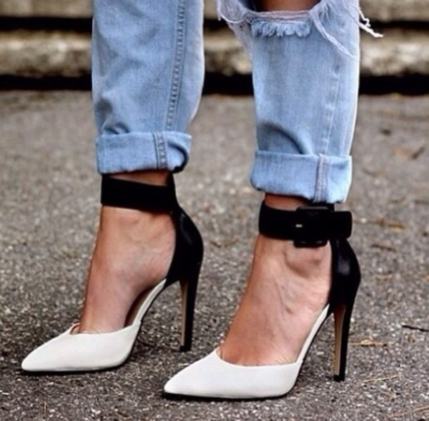 shoes white black heels