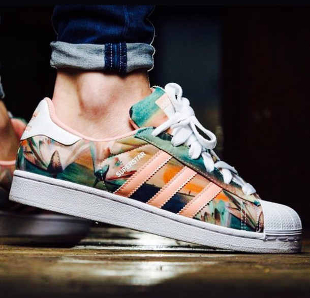 4d28ed88742 shoes adidas floral colorful pastel summer style sneakers adidas superstars  pastel sneakers adidas shoes causal shoes