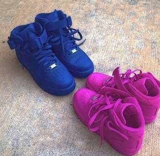 shoes airforces nike shoes blue jordan's swag air jordans pink white shoes swag girls
