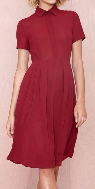 dress red dress collared dress chiffon dress nastygal