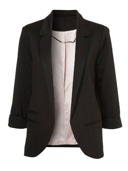 Black Boyfriend Ponte Rolled Sleeves Blazer - Sheinside.com