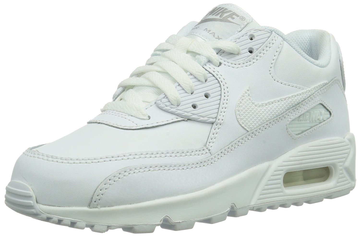 f118c00f02 Amazon.com: Nike Air Max 90 (GS) White Big Kids Running Shoes 307793-167  (7): Shoes