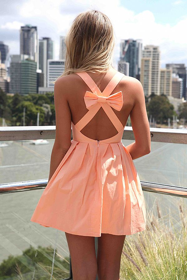 Light orange sleeveless mini dress