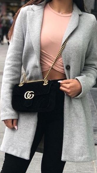 blouse long grise