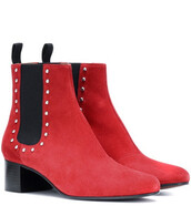 suede ankle boots,ankle boots,suede,red,shoes