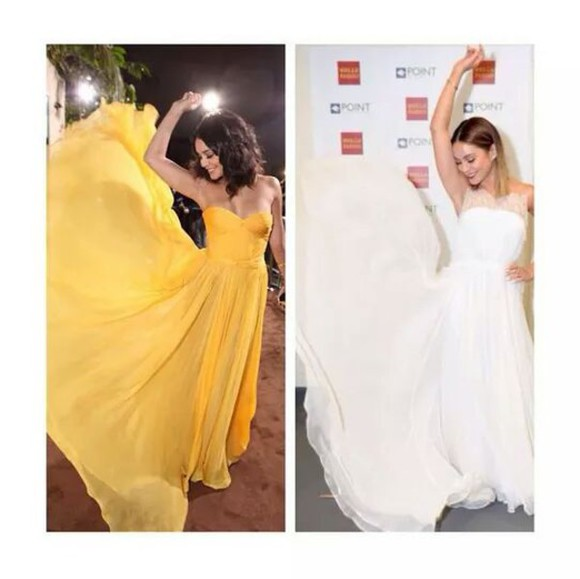 yellow dress vanessa hudgens long dress