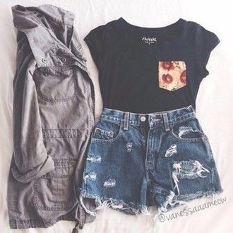 shorts ripped jeans tank top cropped black blouse grunge girl