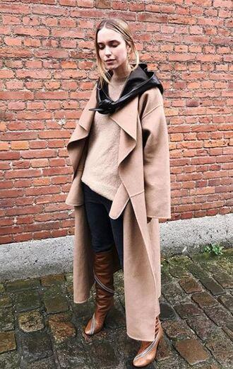 sweater coat camel camel coat pernille teisbaek boots blogger instagram