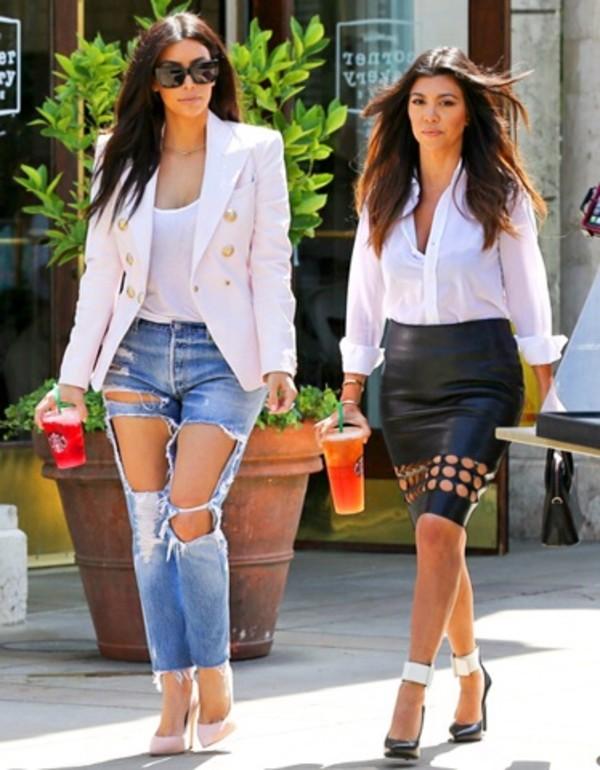 jacket kim kardashian jeans skirt