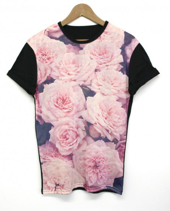 Vintage rose black all over t shirt floral flower pink sublimation inct apparel