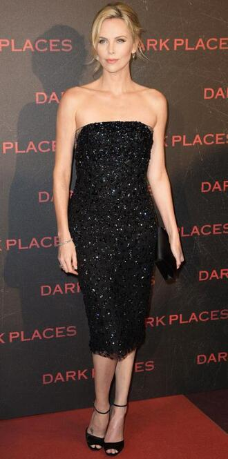 dress black dress strapless sequin sequins charlize theron prom dress gown