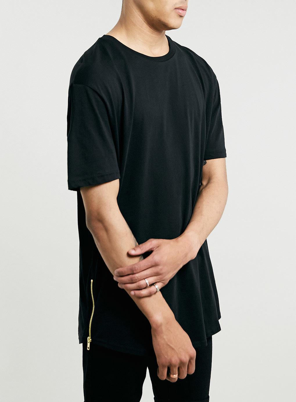 Black t shirt topman - Black Zips Skater T Shirt Men S T Shirts Vests Clothing