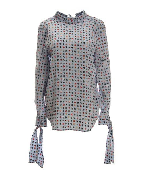 Equipment shirt light floral print blue silk light blue top