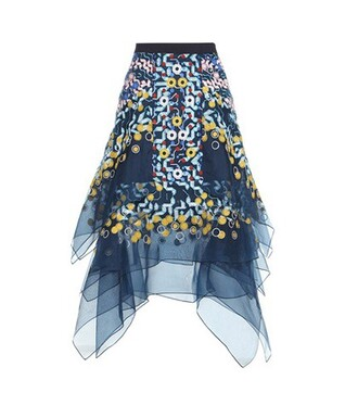 skirt embroidered silk blue