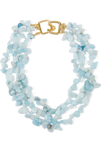 beaded necklace gold blue sky blue jewels