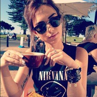 t-shirt sunglasses black nirvana band ring tattoo nail polish muscle tee singlet cropped cropped tee shirt clubmasters tank top band t-shirt band merch kurt cobain dave krist jewels