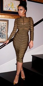 green dress,khaki,see through,mesh dress,party dress,clubwear,club dress,make-up