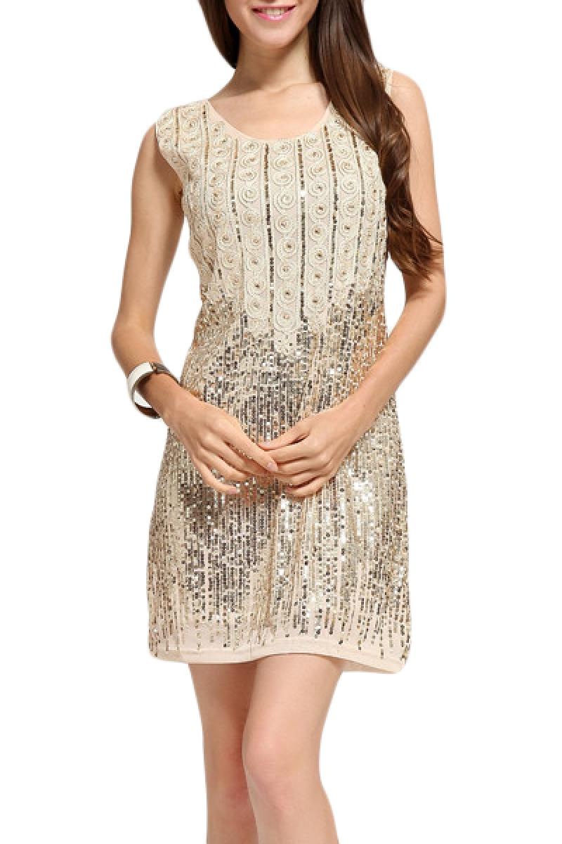 New Apricot Sequins Slim Evening Dress,Cheap in Wendybox.com