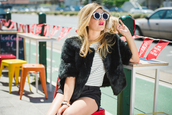 what would karl do,blogger,shorts,wildfox,round sunglasses,faux fur jacket,black jacket,stripes,jacket,top,shoes,sunglasses,jewels