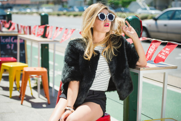 what would karl do blogger shorts wildfox round sunglasses faux fur jacket black jacket stripes jacket top shoes sunglasses jewels