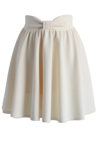 skirt chicwish delight my bow skater skirt in beige bow skirt summer skirt beige skirt skater skirt chicwish.com