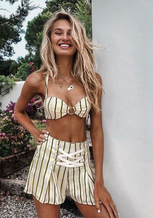 shorts stripes summer top summer shorts summer outfits romee strijd model off-duty instagram two-piece