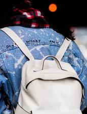 bag,tumblr,nyfw 2017,fashion week 2017,fashion week,sreetstyle,white backpack,jacket,blue jacket,denim jacket