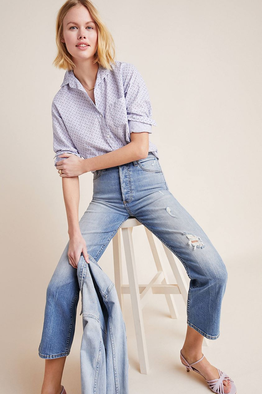 Boyish Brady High-Rise Cropped Flare Jeans by in Blue