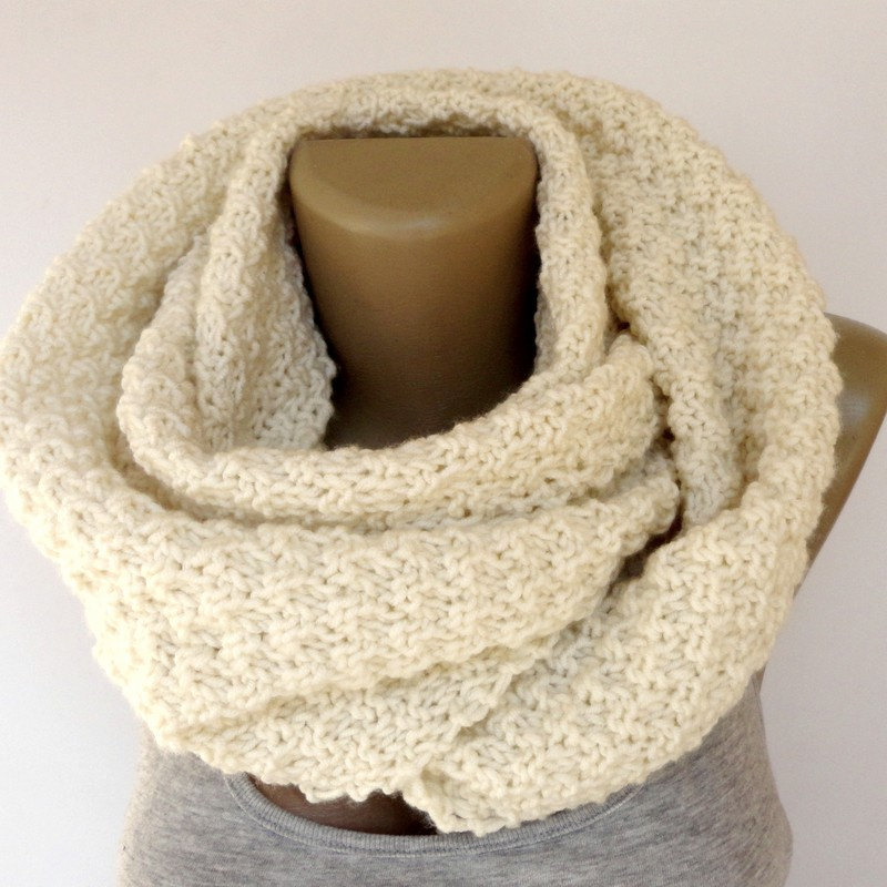 ivory knit scarf ,infinity scarf ,unisex ,eternity women men scarves ,knitting ,knit circle scarf ,cream ivory senoAccessory